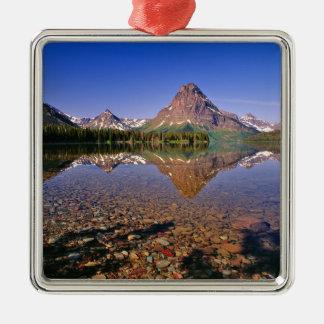 山は平静2のmedicine湖に反映します メタルオーナメント