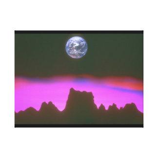 山上の地球。 (earth_Space場面 キャンバスプリント