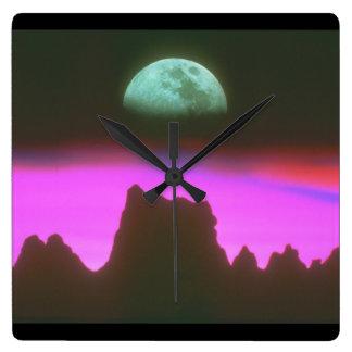 山上の月。 (moon_Space場面 スクエア壁時計