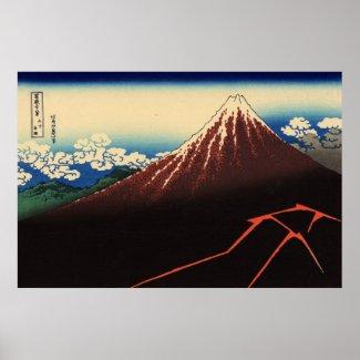 山下白雨、北斎の雷および富士山、Hokusai、Ukiyo-e プリント