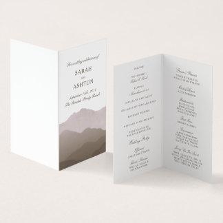 山地の小型結婚式プログラム カード