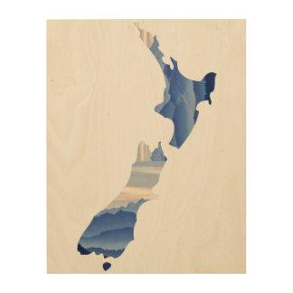 山地パターンニュージーランドの国|木 ウッドウォールアート