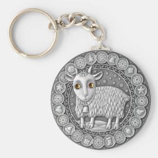 山羊座の硬貨の基本的なボタンのキーホルダー キーホルダー