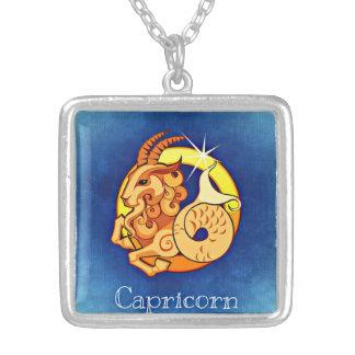 山羊座の(占星術の)十二宮図のネックレス シルバープレートネックレス