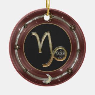 山羊座の(占星術の)十二宮図の印 陶器製丸型オーナメント