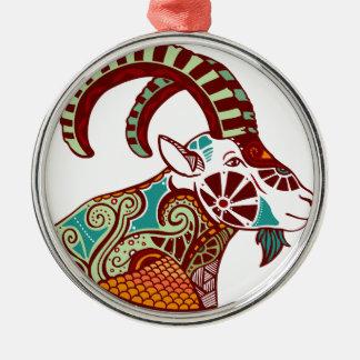 山羊座の(占星術の)十二宮図- Ibex シルバーカラー丸型オーナメント