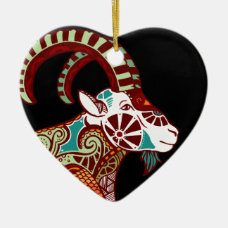 山羊座の(占星術の)十二宮図- Ibex 陶器製ハート型オーナメント