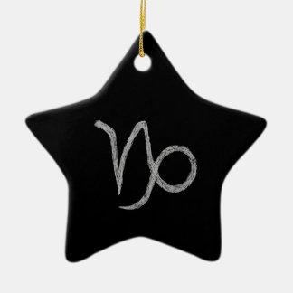 山羊座。 (占星術の)十二宮図の占星術の印。 黒 セラミックオーナメント