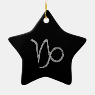 山羊座。 (占星術の)十二宮図の占星術の印。 黒 陶器製星型オーナメント