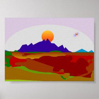 山頂の太陽セット ポスター