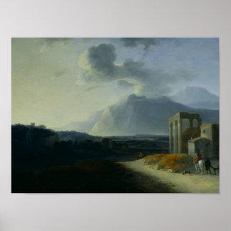 山Stromboliとの景色 ポスター