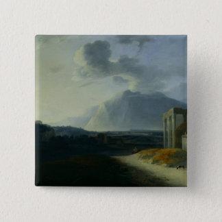 山Stromboliとの景色 5.1cm 正方形バッジ