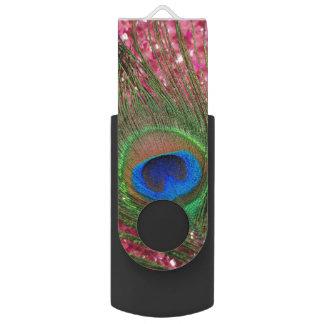 岩が多いピンクの孔雀 USBフラッシュドライブ