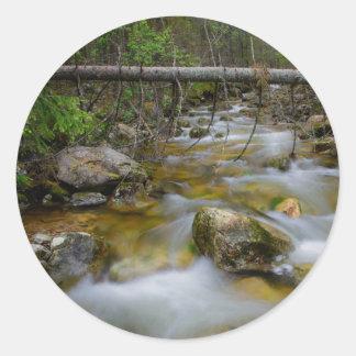 岩が多い森林入り江の円形のステッカー ラウンドシール