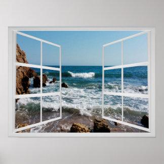 岩が多い海の海岸および波が付いている窓枠 ポスター