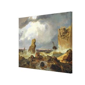岩が多い海岸の波、1835年 キャンバスプリント