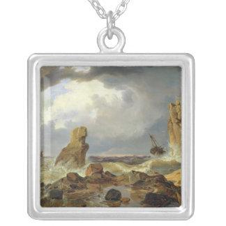 岩が多い海岸の波、1835年 シルバープレートネックレス