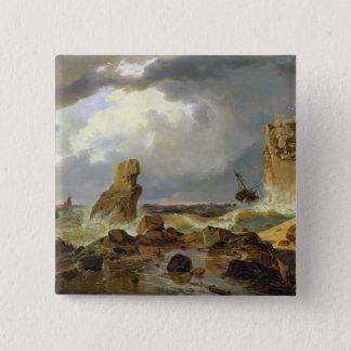 岩が多い海岸の波、1835年 5.1CM 正方形バッジ