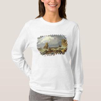 岩が多い海岸の波、1835年 Tシャツ