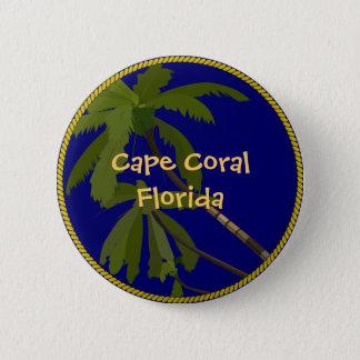 岬の珊瑚のフロリダのヤシの木ボタンか折りえりピン 5.7CM 丸型バッジ