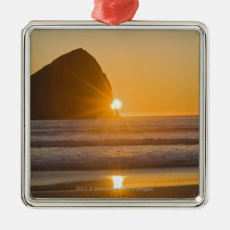 岬Kiwandaの日が差すことおよび三角波の石 メタルオーナメント