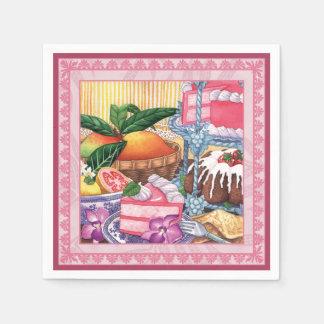 島のカフェ- Guavaのシフォンのデザート スタンダードカクテルナプキン