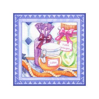 島のカフェ- Lilikoiおよび漬物のマンゴ キャンバスプリント