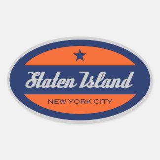 島のステッカーを*Staten 楕円形シール