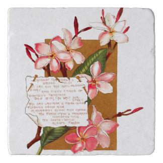 島のプルメリアの花の花のバミューダ島の詩 トリベット