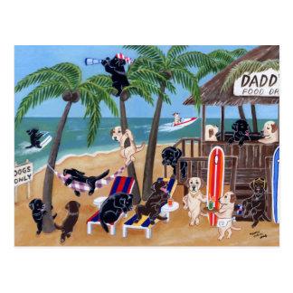 島の夏期休暇のラブラドール ポストカード
