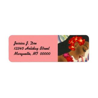 島の女の子のハワイのハイビスカスの差出人住所ラベル 返信用宛名ラベル