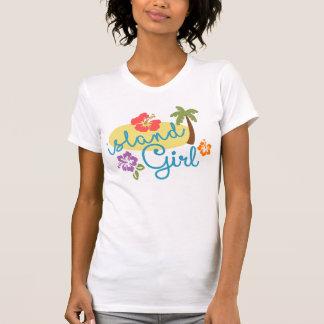 島の女の子-女性のアメリカの服装の罰金ジャージー Tシャツ
