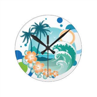 島の波の柱時計 ラウンド壁時計