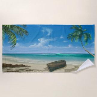 島の熱帯楽園の青い砂のビーチのボート ビーチタオル