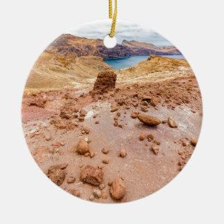 島の石とのMoonscapeの月の景色 セラミックオーナメント