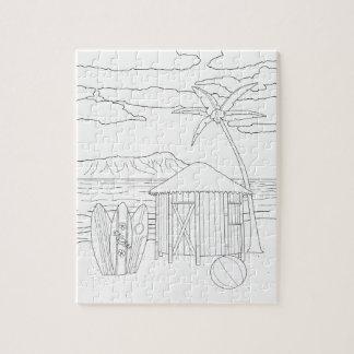 島のTiki小屋の大人の着色のパズル ジグソーパズル