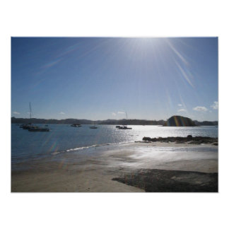島、ニュージーランドの湾 ポスター