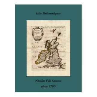島Britanniques - 1700年のニコラスFils Sansonの地図 ポストカード