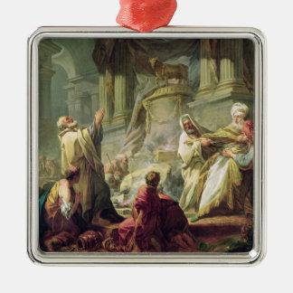 崇拝の対象となる物質に犠牲になるJeroboam 1752年 メタルオーナメント
