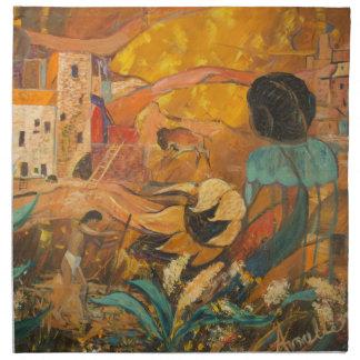 崖の住人の絵を描くこと ナプキンクロス
