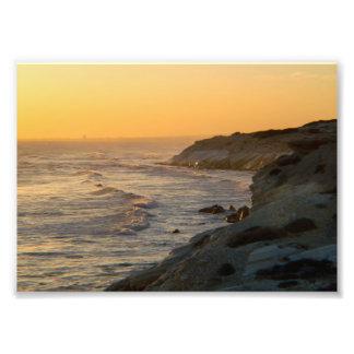 崖上の日没の海景 フォトプリント