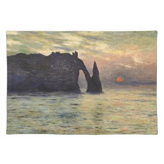 崖Etretatのクロード・モネ著日没 ランチョンマット