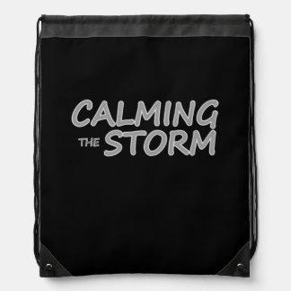 嵐のタイトルのドローストリングバッグを静めること ナップサック