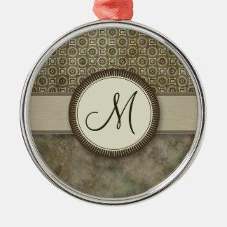 嵐のモノグラムが付いている灰色の硬貨パターン メタルオーナメント