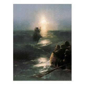 嵐の海のイエス・キリストの歩く ポストカード