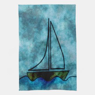 嵐の海のヨット キッチンタオル