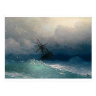 嵐の海の船、イヴァンAivazovsky - ポストカード