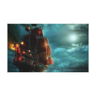 嵐の海の船 キャンバスプリント