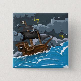 嵐の海賊船 5.1CM 正方形バッジ