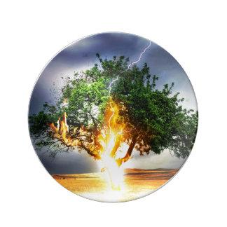 嵐の間の稲妻の顕著な木 磁器プレート